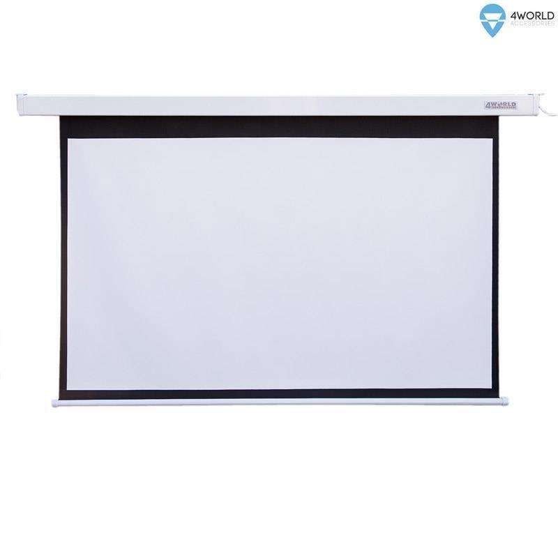 4World Elektryczny ekran projekcyjny z pilotem 144x81 (16:9) biały mat