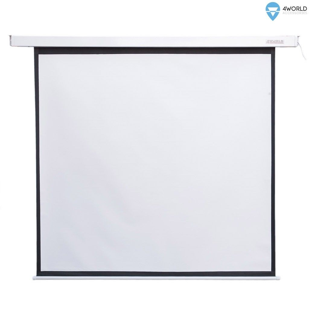 4World Elektryczny ekran projekcyjny z pilotem 152x152 (1:1) biały mat