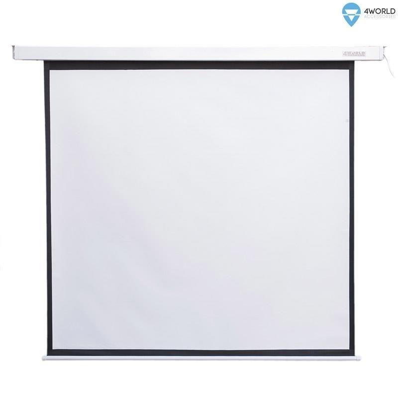 4World Elektryczny ekran projekcyjny z pilotem 170x128 (4:3) biały mat