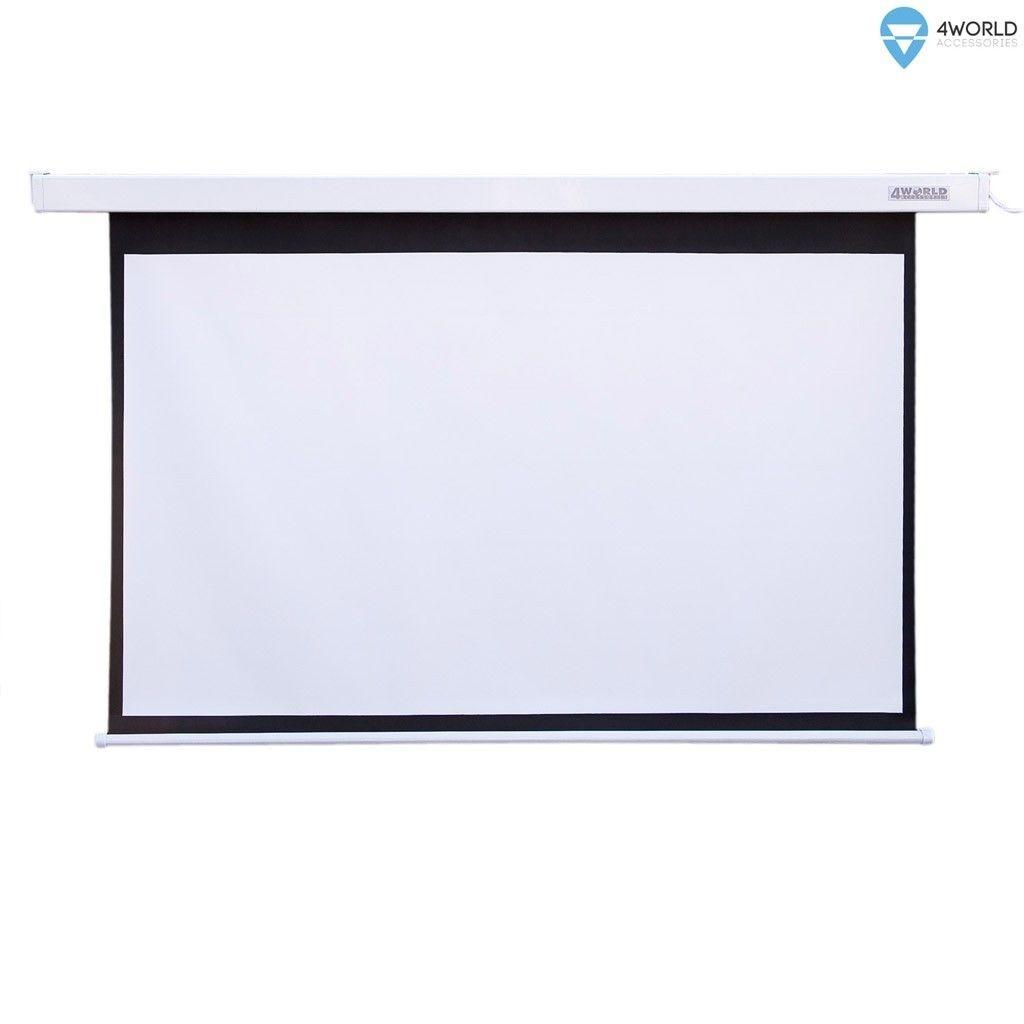 4World Elektryczny ekran projekcyjny z pilotem 203x152 (4:3) biały mat