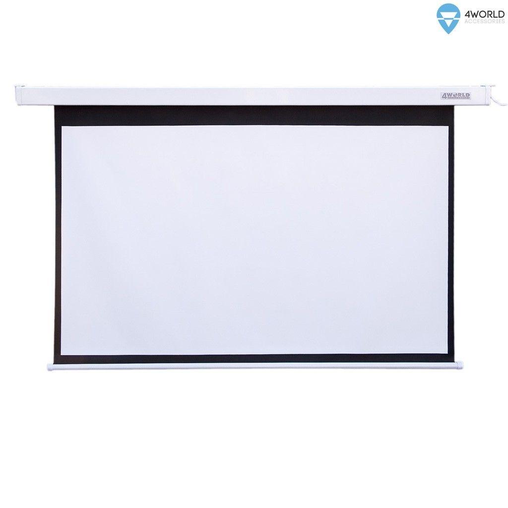 4World Elektryczny ekran projekcyjny z pilotem 221x124 (16:9) biały mat