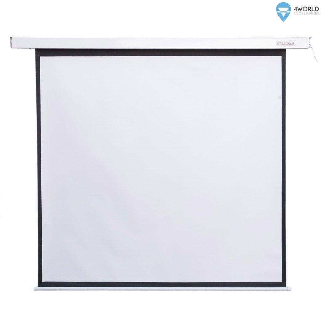 4World Elektryczny ekran projekcyjny z pilotem 244x183 (4:3) biały mat