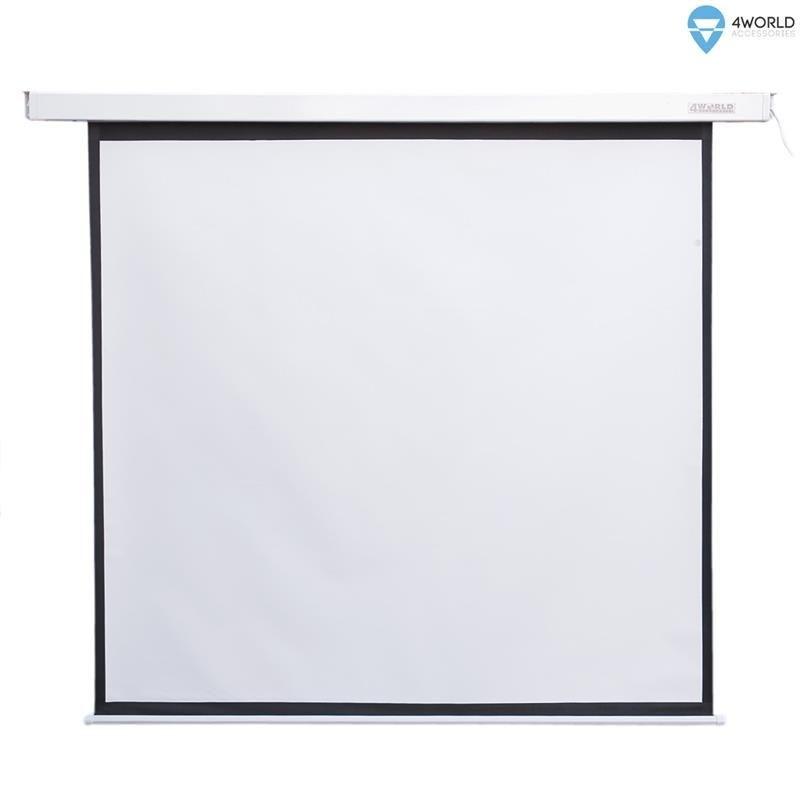4World Elektryczny ekran projekcyjny z przełącznikiem 152x152 (1:1) biały mat