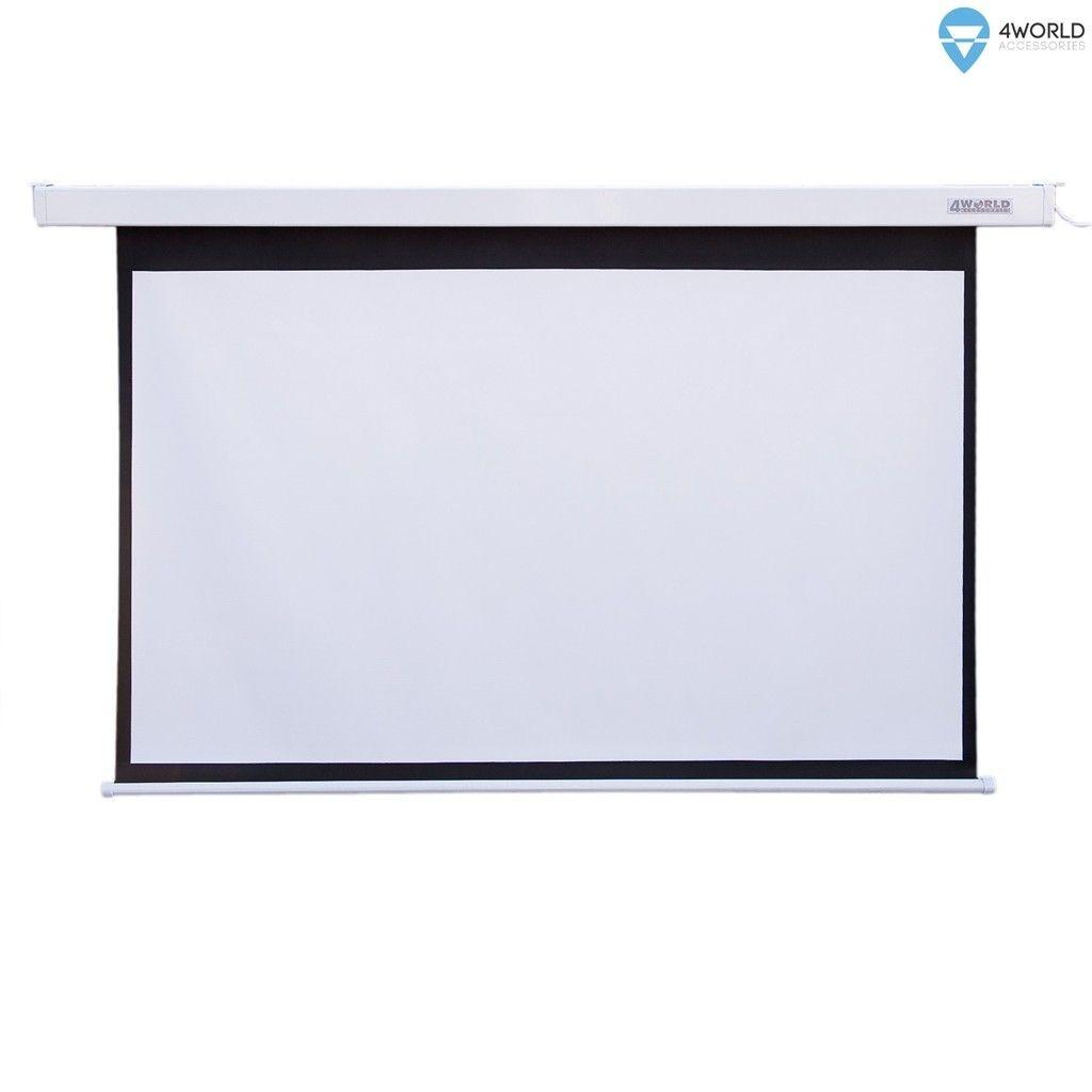 4World Elektryczny ekran projekcyjny z przełącznikiem 221x124 (16:9) biały mat