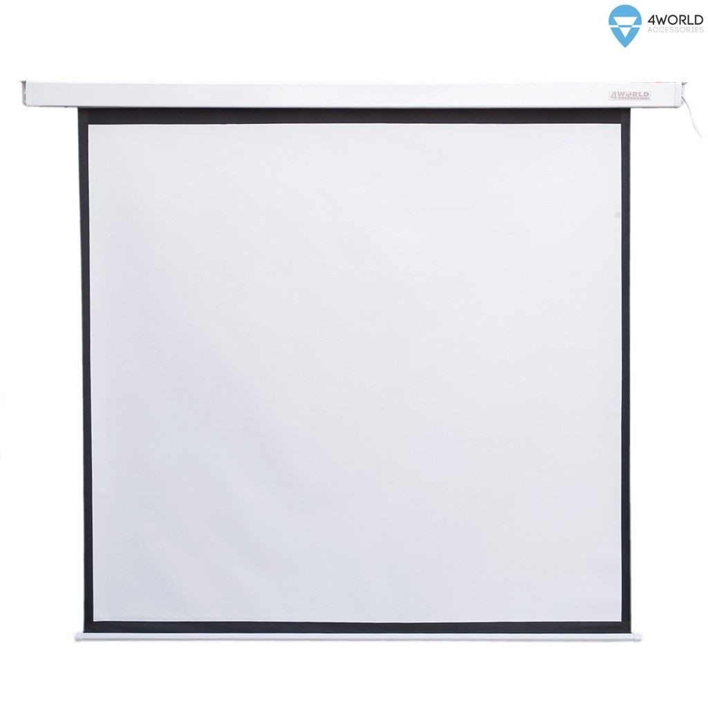 4World Elektryczny ekran projekcyjny z przełącznikiem 244x183 (4:3) biały mat