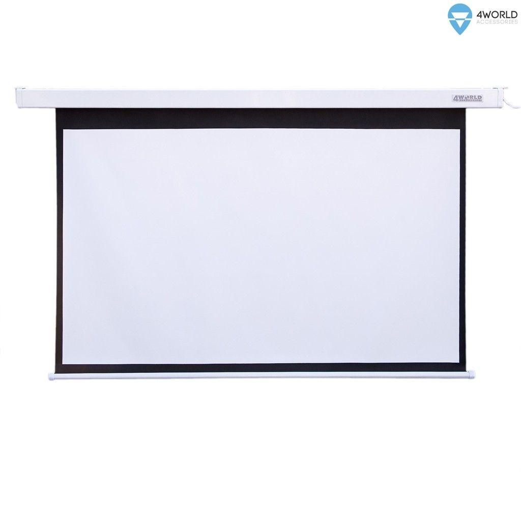 4World Elektryczny ekran projekcyjny z przełącznikiem 265x149 (16:9) biały mat
