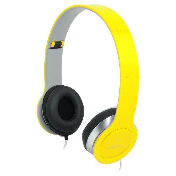 LogiLink - słuchawki stereo High Quality z mikrofonem, żółte