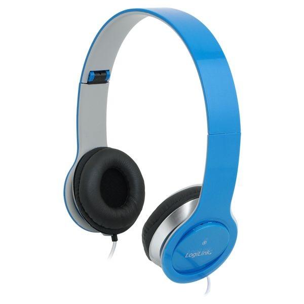 LogiLink Stylowe słuchawki stereo z mikrofonem, niebieskie