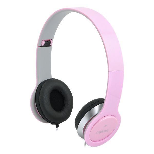 LogiLink - słuchawki stereo High Quality z mikrofonem, różowe