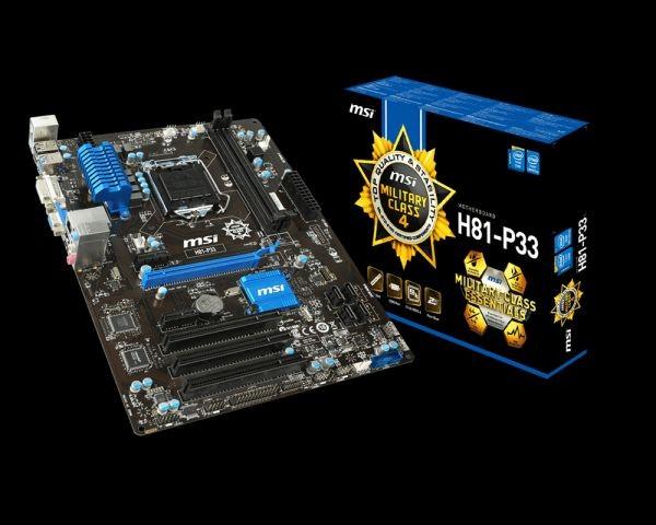 MSI ATX H81-P33, SOCKET1150, CHIPSET INTEL H81, 8xUSB 2.0, 4xUSB 3.0, 2xDDR3