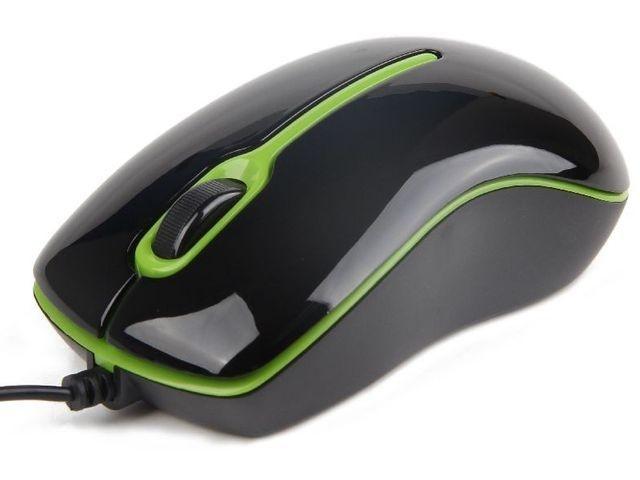 Gembird mysz optyczna USB, 1000 DPI, czarno-zielona