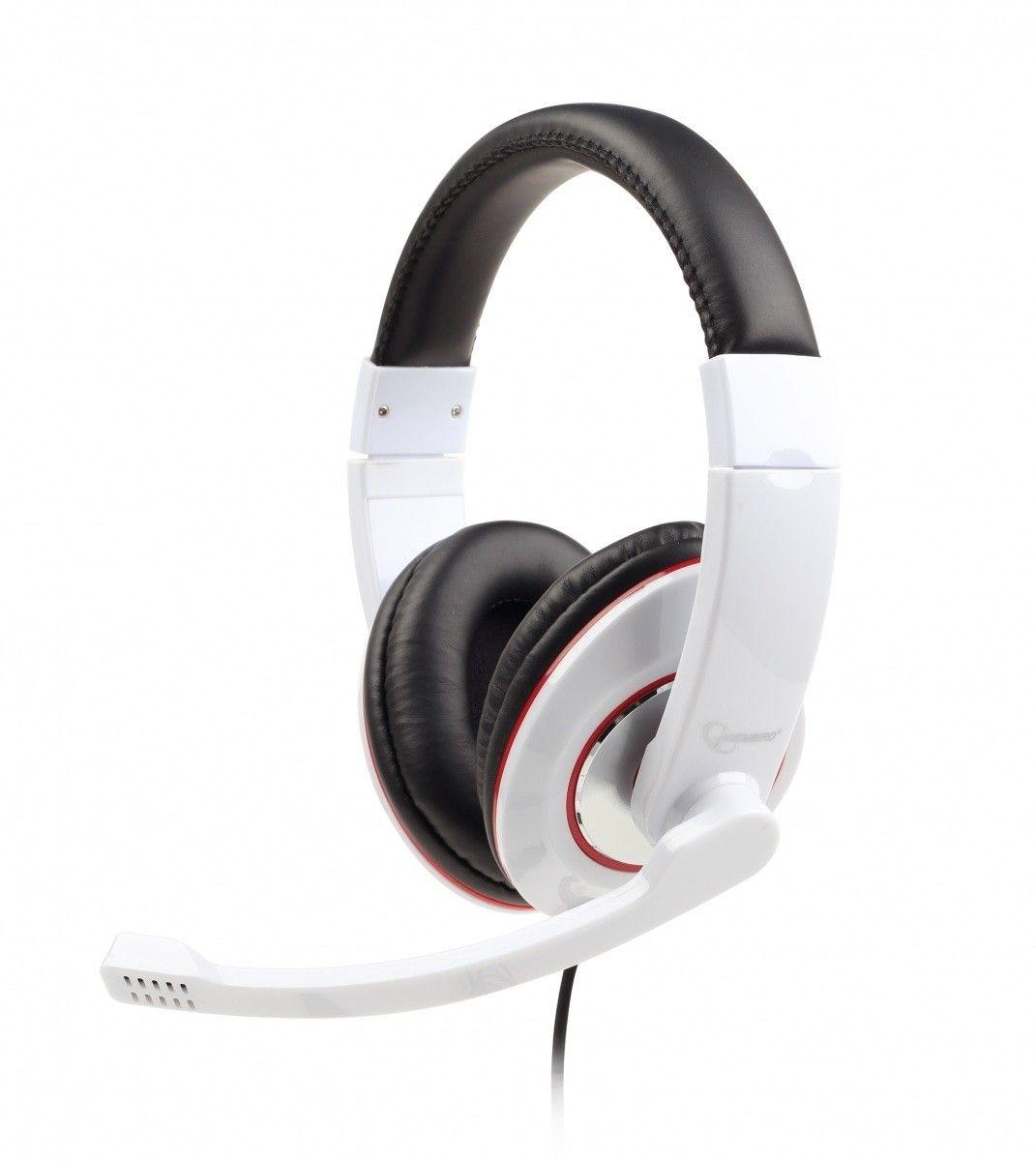 Gembird słuchawki stereofoniczne z mikrofonem i regulacją głośności, białe