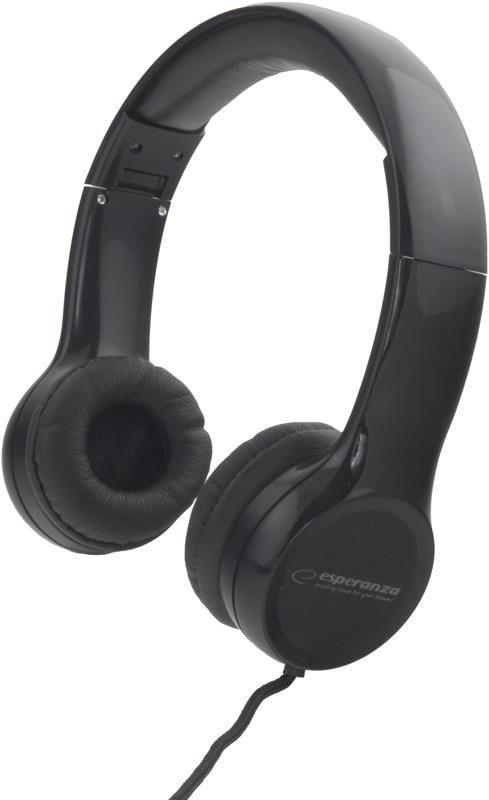 Esperanza Słuchawki Składane Audio Stereo z Regul Głośn EH140K FUNK| 3m | Czarne