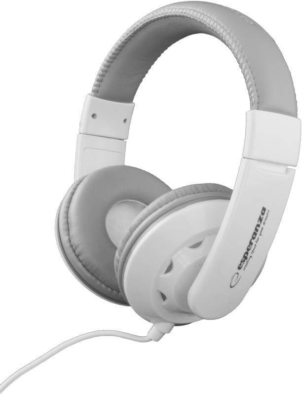 Esperanza Słuchawki Audio Stereo z Regulacją Głośności EH144W CORAL| 3m | Białe