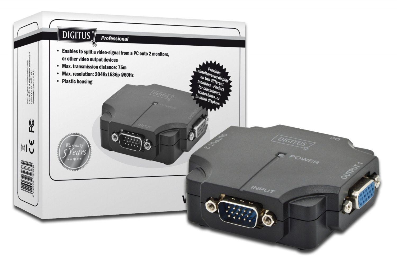 Digitus Mini Rozdzielacz/Splitter VGA 2-portowy, 350MHz 1920x1080p FHD