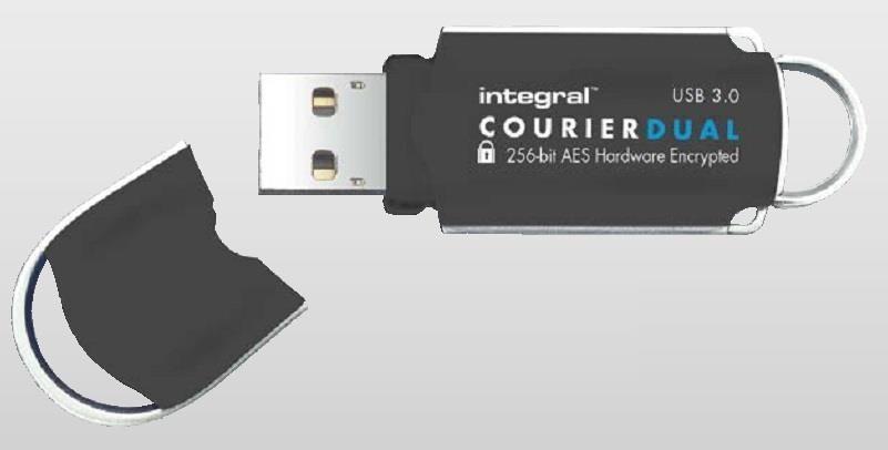 Integral pamięć 32GB USB3.0 CourierDual-Szyfrowanie Sprzętowe AES 256BIT,FIPS197