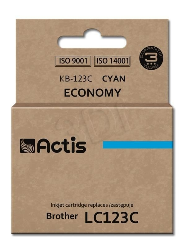 Actis Tusz Actis KB-123C (do drukarki Brother zamiennik LC123C/LC121C standard 10ml cyan)