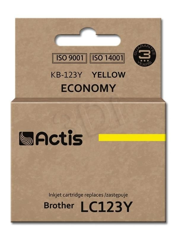 Actis Tusz Actis KB-123Y (do drukarki Brother zamiennik LC123Y/LC121Y standard 10ml yellow)