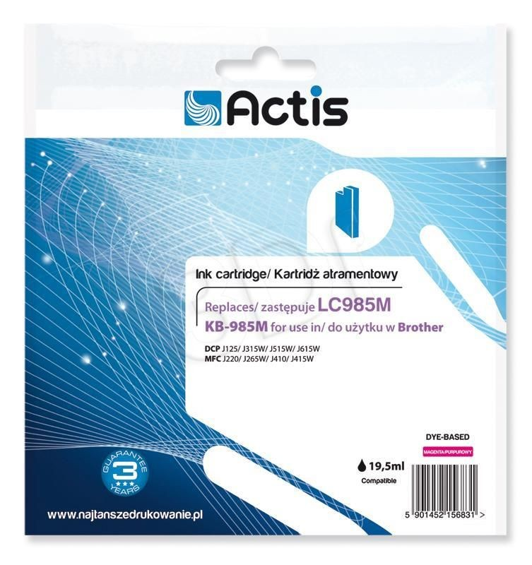 Actis Tusz Actis KB-985M (do drukarki Brother zamiennik LC985M standard 19 5ml magenta)