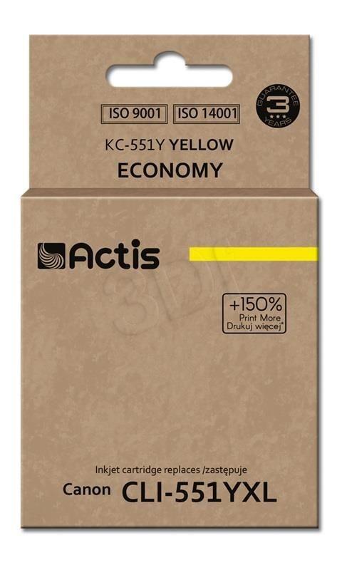 Actis Tusz Actis KC-551Y (do drukarki Canon zamiennik CLI-551Y standard 12ml yellow Chip)