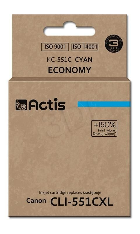 Actis Tusz Actis KC-551C (do drukarki Canon zamiennik CLI-551C standard 12ml cyan Chip)