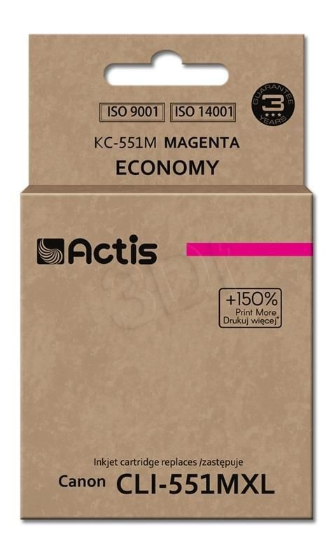 Actis Tusz Actis KC-551M (do drukarki Canon zamiennik CLI-551M standard 12ml magenta Chip)