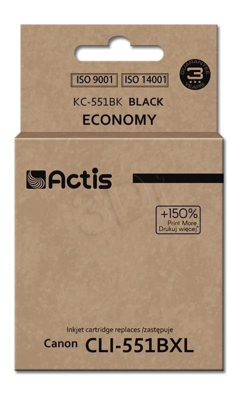 Actis Tusz Actis KC-551BK (do drukarki Canon zamiennik CLI-551BK standard 12ml czarny Chip)