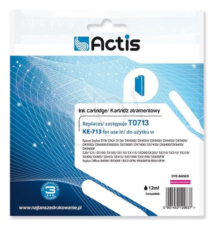 Actis Tusz Actis KE-713 (do drukarki Epson zamiennik T0713 C13T071340 standard 13 5ml magenta)