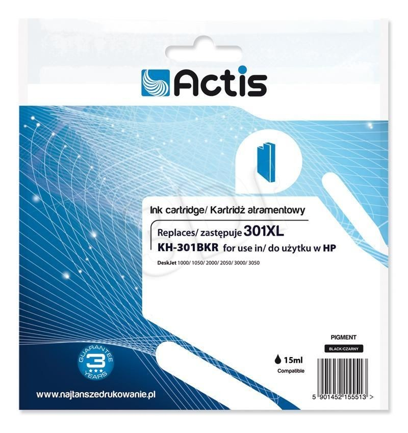 Actis Tusz Actis KH-301BKR (do drukarki Hewlett Packard zamiennik HP 301XL CH563EE standard 15ml czarny)