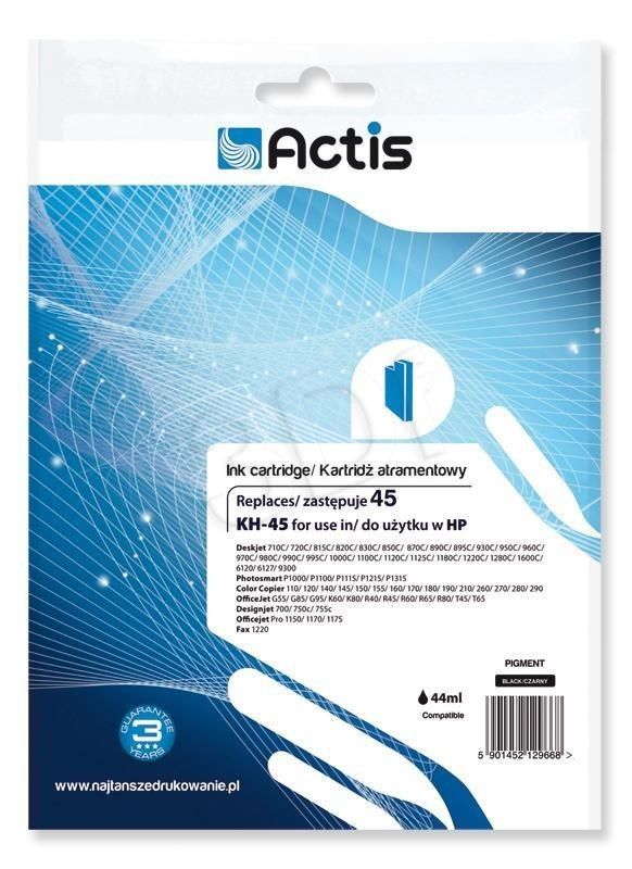 Actis Tusz Actis KH-45 (do drukarki Apple Hewlett Packard zamiennik HP 45 51645A standard 24ml czarny)