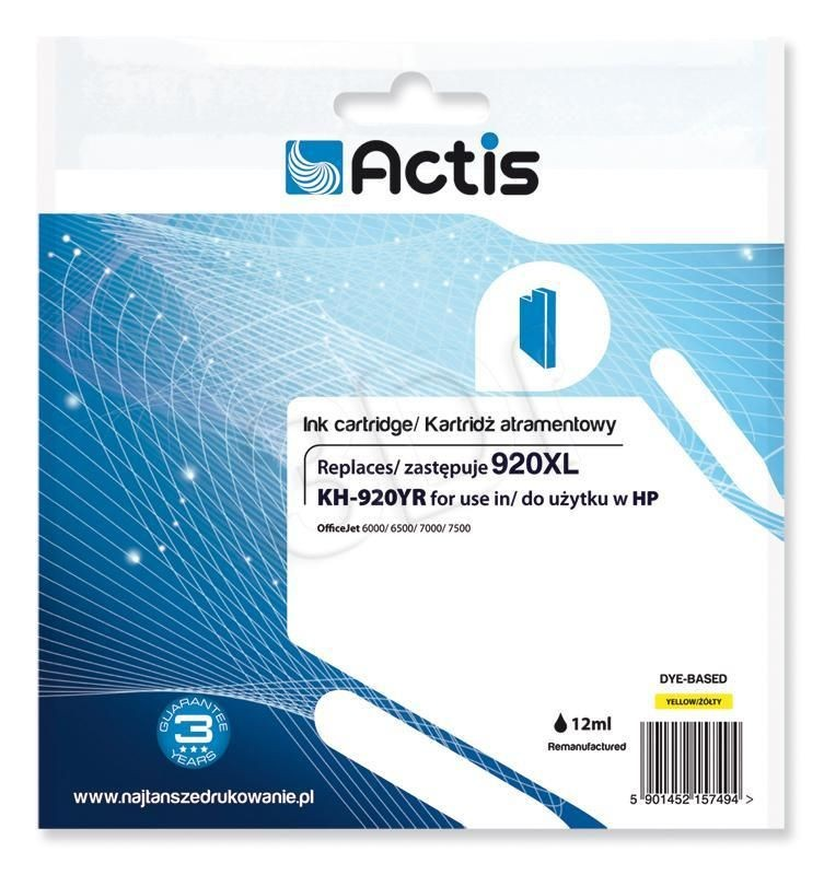 Actis Tusz Actis KH-920YR (do drukarki Hewlett Packard zamiennik HP 920XL CD974AE standard 12ml yellow)