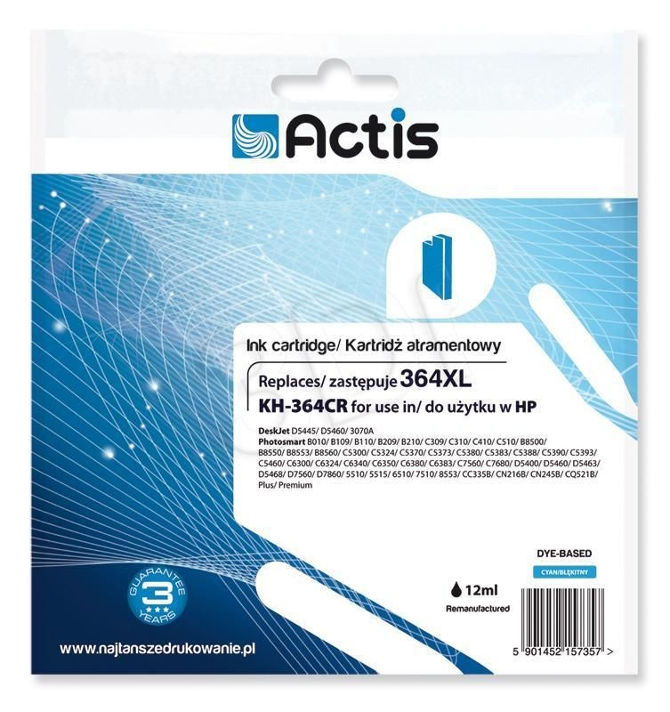 Actis Tusz Actis KH-364CR (do drukarki Hewlett Packard zamiennik HP 364XL CB323EE standard 12ml cyan Chip)