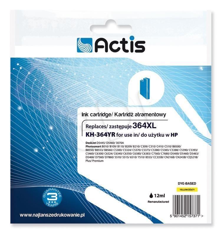 Actis Tusz Actis KH-364YR (do drukarki Hewlett Packard zamiennik HP 364XL CB325EE standard 12ml yellow Chip)
