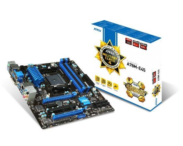 MSI mATX A78M-E45, CHIPSET A78, SOCKET FM2+, 4xDDR3, 2xUSB 2.0, 4xUSB 3.0