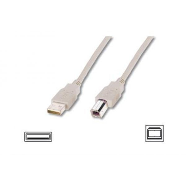 Assmann Kabel USB2,0 A m / B m dł.1,8m beżowy UL