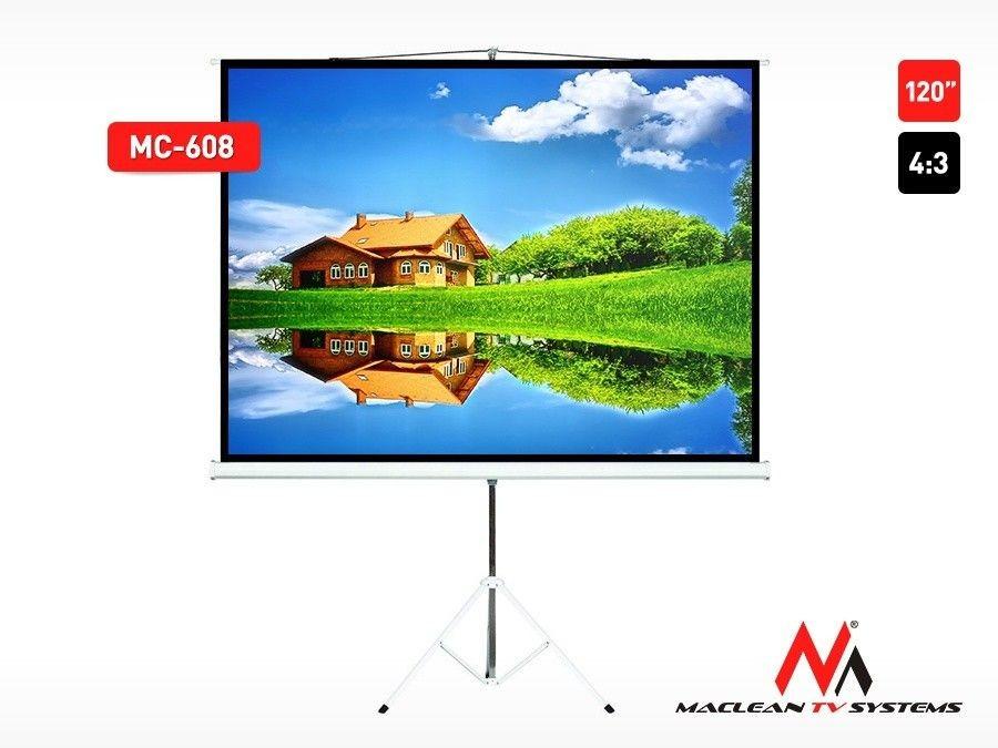 Maclean MC-608 Ekran projekcyjny stojak 120'' 4:3 16:9 ze statywem 240x180cm