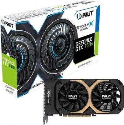 Palit KARTA PCI-E 2048MB DDR5 GEFORCE GTX750Ti STORMX DUAL 128bit CRT/DVI/mHDMI retail /PALIT