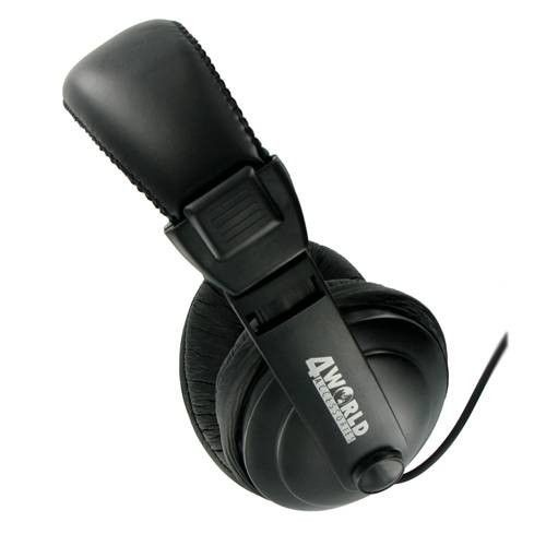 4World Słuchawki stereo z wygodnymi nausznikami czarne, 3m