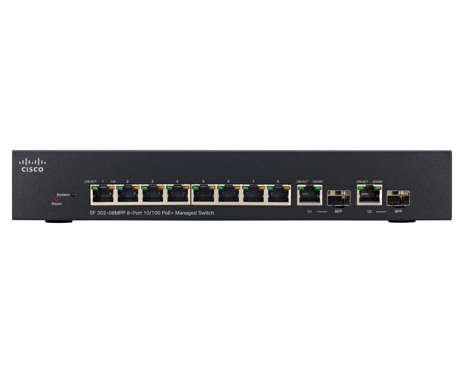 Cisco Systems Cisco SF302-08MPP 8-port 10/100 Max PoE+ Managed Switch