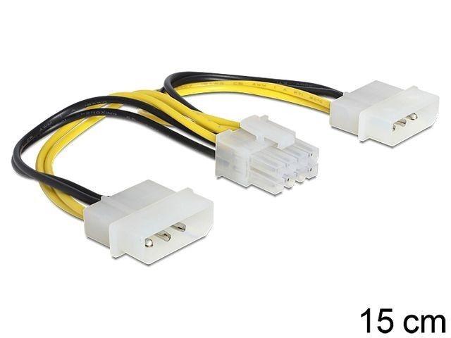 DeLOCK kabel zasilający wewnętrzny EPS 8PIN -> 2x Molex, 15 cm