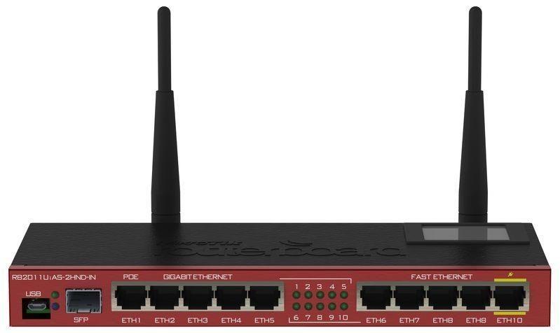 MikroTik Mikrotik RB2011UiAS-2HnD-IN L5 128MB RAM, 5xLAN, 5xGig LAN, 1xSFP, LCD, 2.4GHz