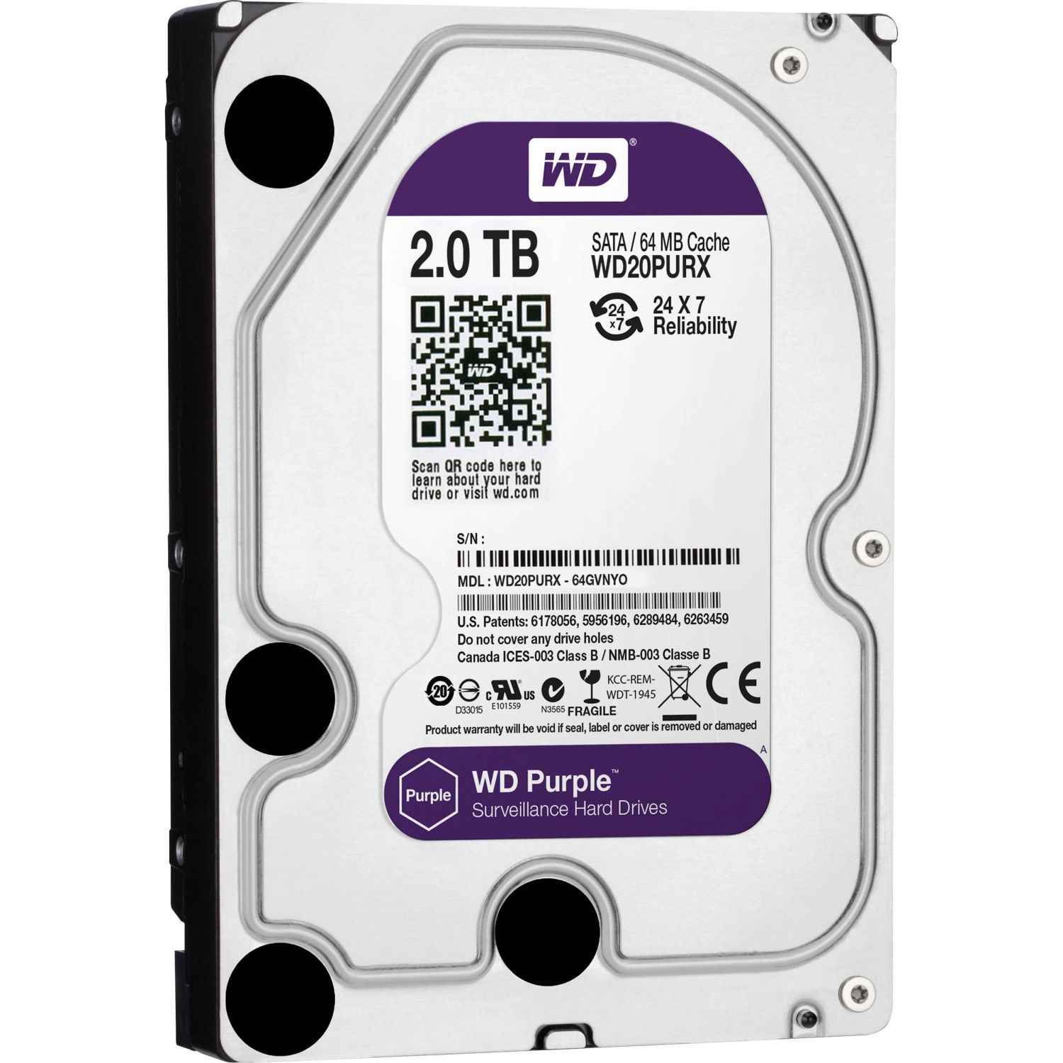 WD Purple, 3.5'', 2TB, SATA/600, 64MB cache