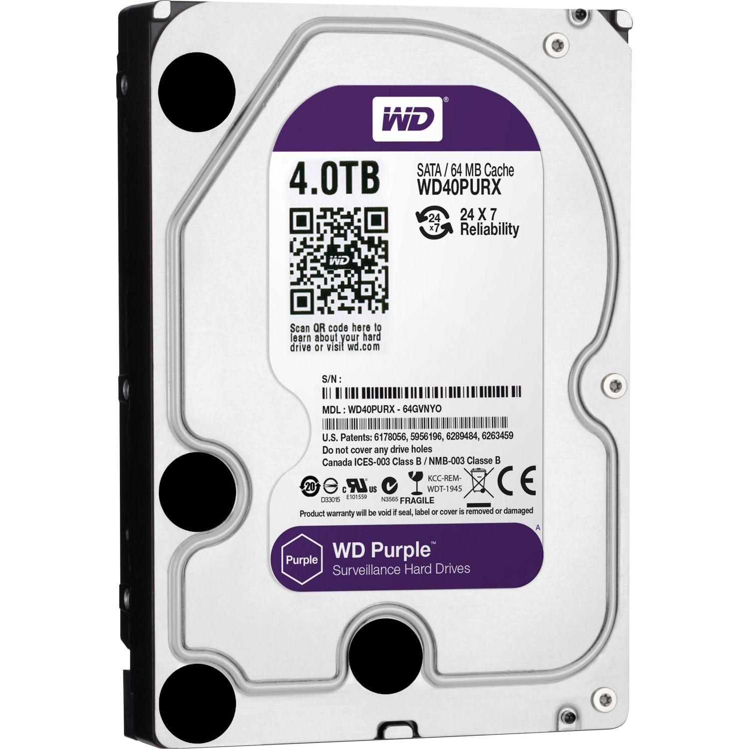 WD Purple, 3.5'', 4TB, SATA/600, 64MB cache