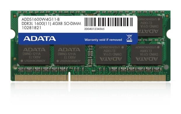 A-Data 4GB 1600MHz DDR3L CL11 SODIMM 1.35V/1.5V Retail
