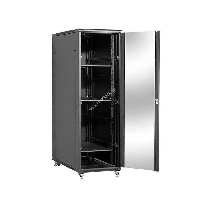 Linkbasic szafa stojąca rack 19'' 47U 600x1000mm czarna (drzwi przednie szklane)