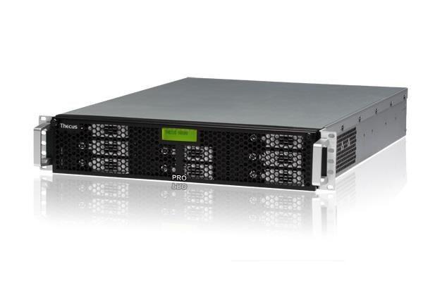 Thecus 8-Bay 2U rackmount NAS, SATA, 2.9GHz, 4GB DDR3 ECC, 2x GbE, USB 3.0, RPS
