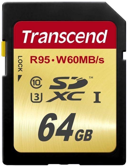 Transcend karta pamięci SDXC 64GB Class10 UHS-I U3 (read/write: 95/60MB/s)