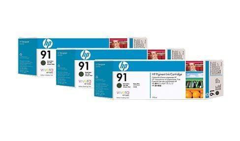 HP wkład z atramentem Vivera No.91 3-pak czarny matowy (775ml, Z6100)
