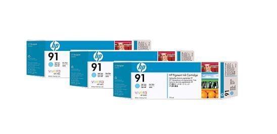HP wkład z atramentem Vivera No.91 3-pak jasnoniebieski (775ml, Z6100)