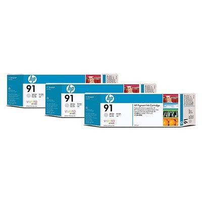 HP Atrament 91 Light Grey Ink Cart 3pk